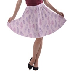 Whimsical Feather Pattern, Pink & Purple, A-line Skater Skirt by Zandiepants