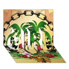 Tropical Design With Flamingo And Palm Tree Girl 3d Greeting Card (7x5)  by FantasyWorld7