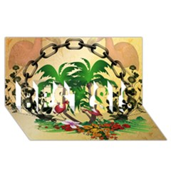 Tropical Design With Flamingo And Palm Tree Best Sis 3d Greeting Card (8x4)  by FantasyWorld7