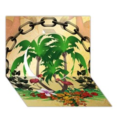 Tropical Design With Flamingo And Palm Tree Circle 3d Greeting Card (7x5)  by FantasyWorld7