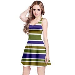 Olive Green Blue Stripes Pattern Reversible Sleeveless Dress by BrightVibesDesign