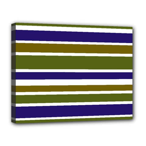 Olive Green Blue Stripes Pattern Canvas 14  X 11  by BrightVibesDesign