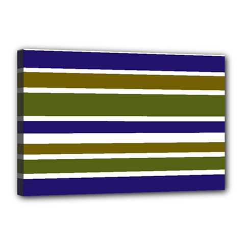 Olive Green Blue Stripes Pattern Canvas 18  X 12  by BrightVibesDesign
