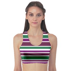 Purple Green Stripes Sports Bra by BrightVibesDesign