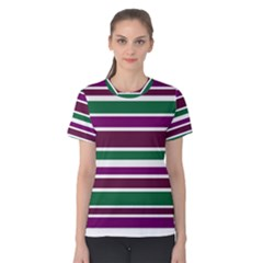 Purple Green Stripes Women s Cotton Tee by BrightVibesDesign