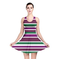 Purple Green Stripes Reversible Skater Dress by BrightVibesDesign