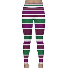 Purple Green Stripes Yoga Leggings by BrightVibesDesign