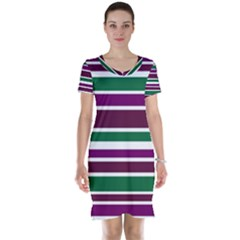 Purple Green Stripes Short Sleeve Nightdress by BrightVibesDesign