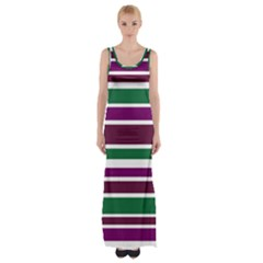 Purple Green Stripes Maxi Thigh Split Dress by BrightVibesDesign