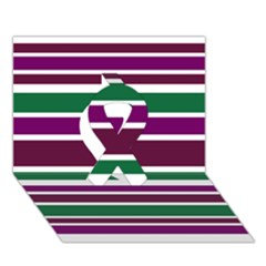 Purple Green Stripes Ribbon 3d Greeting Card (7x5)  by BrightVibesDesign