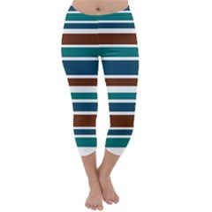 Teal Brown Stripes Capri Winter Leggings  by BrightVibesDesign