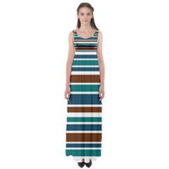 Teal Brown Stripes Empire Waist Maxi Dress by BrightVibesDesign