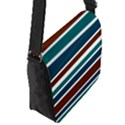 Teal Brown Stripes Flap Messenger Bag (S) View2