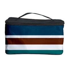 Teal Brown Stripes Cosmetic Storage Cases by BrightVibesDesign