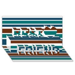 Teal Brown Stripes Best Friends 3d Greeting Card (8x4)  by BrightVibesDesign