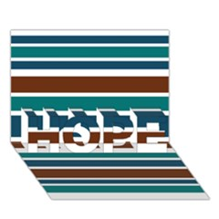 Teal Brown Stripes Hope 3d Greeting Card (7x5)  by BrightVibesDesign