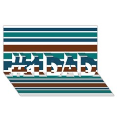Teal Brown Stripes #1 Dad 3d Greeting Card (8x4)  by BrightVibesDesign