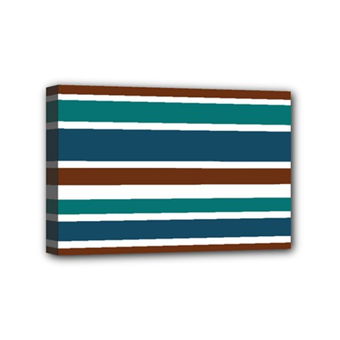 Teal Brown Stripes Mini Canvas 6  X 4  by BrightVibesDesign
