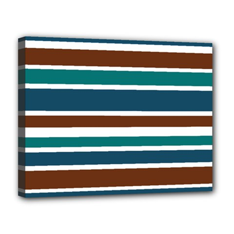 Teal Brown Stripes Canvas 14  X 11  by BrightVibesDesign