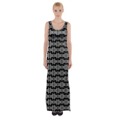 Black White Tiki Pattern Maxi Thigh Split Dress