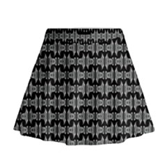 Black White Tiki Pattern Mini Flare Skirt by BrightVibesDesign