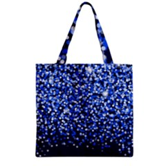 Blue Glitter Rain Grocery Tote Bag by KirstenStar