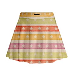 Watercolor Stripes Background With Stars Mini Flare Skirt by TastefulDesigns