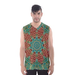 The Wooden Heart Mandala,giving Calm Men s Basketball Tank Top by pepitasart