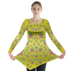 Flower Power Stars Long Sleeve Tunic  by pepitasart