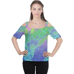 Green Blue Pink Color Splash Women s Cutout Shoulder Tee by BrightVibesDesign