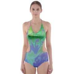 Green Blue Pink Color Splash Cut Out One Piece Swimsuit by BrightVibesDesign
