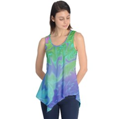 Green Blue Pink Color Splash Sleeveless Tunic by BrightVibesDesign