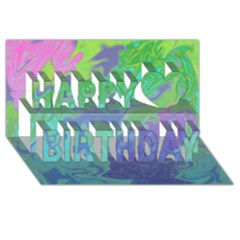 Green Blue Pink Color Splash Happy Birthday 3d Greeting Card (8x4)  by BrightVibesDesign