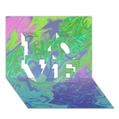 Green Blue Pink Color Splash Love 3d Greeting Card (7x5)  by BrightVibesDesign