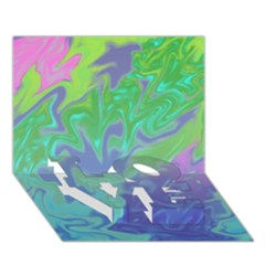 Green Blue Pink Color Splash Love Bottom 3d Greeting Card (7x5)  by BrightVibesDesign