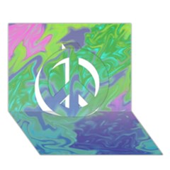 Green Blue Pink Color Splash Peace Sign 3d Greeting Card (7x5)  by BrightVibesDesign