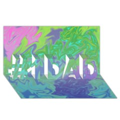 Green Blue Pink Color Splash #1 Dad 3d Greeting Card (8x4)  by BrightVibesDesign
