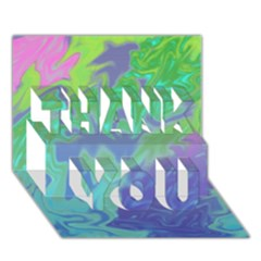 Green Blue Pink Color Splash Thank You 3d Greeting Card (7x5)  by BrightVibesDesign