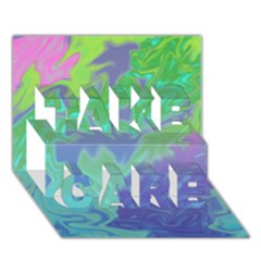 Green Blue Pink Color Splash Take Care 3d Greeting Card (7x5)  by BrightVibesDesign