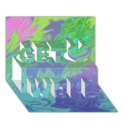 Green Blue Pink Color Splash Get Well 3d Greeting Card (7x5)  by BrightVibesDesign