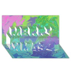 Green Blue Pink Color Splash Merry Xmas 3d Greeting Card (8x4)  by BrightVibesDesign