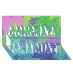 Green Blue Pink Color Splash Congrats Graduate 3d Greeting Card (8x4)  by BrightVibesDesign