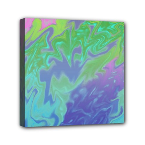 Green Blue Pink Color Splash Mini Canvas 6  X 6  by BrightVibesDesign