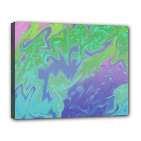 Green Blue Pink Color Splash Canvas 14  X 11  by BrightVibesDesign