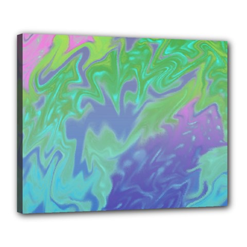 Green Blue Pink Color Splash Canvas 20  X 16  by BrightVibesDesign