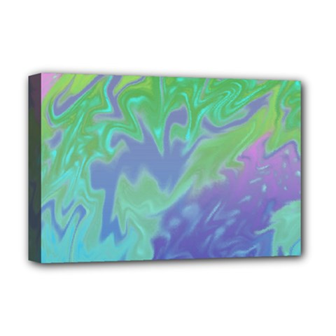 Green Blue Pink Color Splash Deluxe Canvas 18  X 12   by BrightVibesDesign