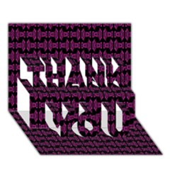 Pink Black Retro Tiki Pattern Thank You 3d Greeting Card (7x5)  by BrightVibesDesign