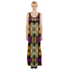 Contemplative Floral And Pearls  Maxi Thigh Split Dress by pepitasart