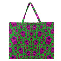 Fantasy Valentine In Floral Love And Peace Time Zipper Large Tote Bag by pepitasart