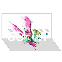 Hummingbird Skeleton Sorry 3d Greeting Card (8x4)  by lvbart